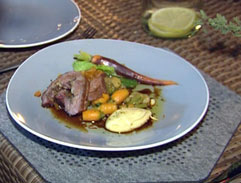 Deboned lamb neck with carrots, beans and fresh herbs and a celeriac