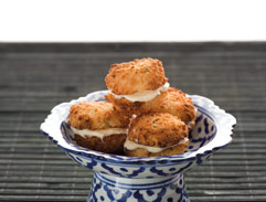 Coconut and lime macaroons on rice paper