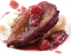 Duck breasts with caramelised strawberries