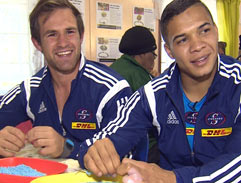 Gogos vs Rugby players at beading for Madiba