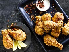 Korean Fried Chicken with spicy buttermilk dipping sauce