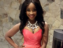 Lorna dazzles in a coral gown