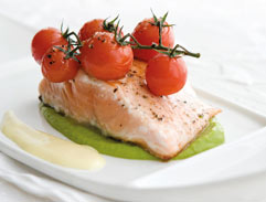 Seared Salmon with Roasted Vine Tomatoes