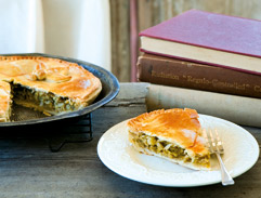 Spring onion and leek pie