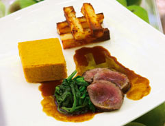 Springbok loin served with butternut custard and pap chips
