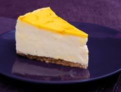 White chocolate, saffron and cardamom cheesecake