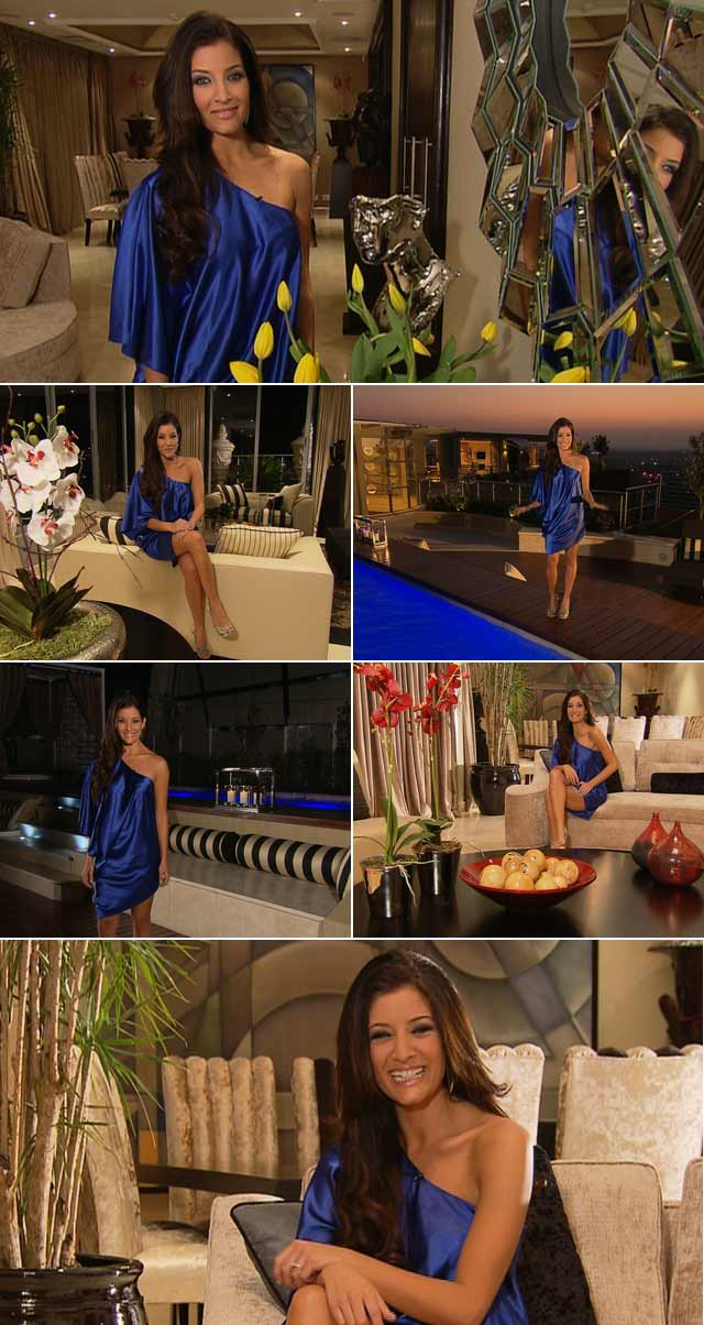 Jeannie wears an asymmetrical blue dress and metallic knotted neckpiece from A List