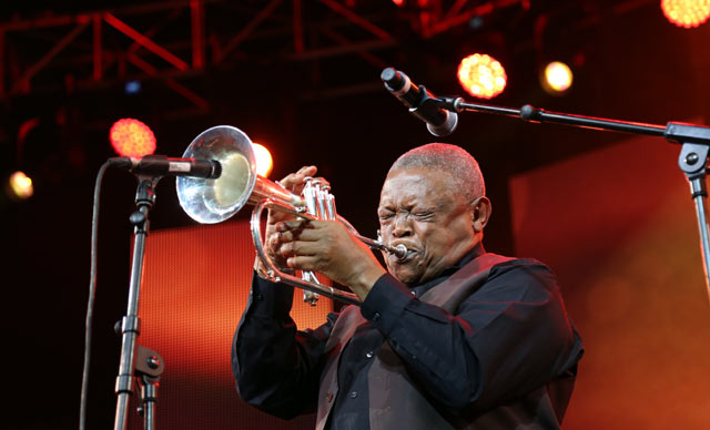 Hugh Masekela performs at Cape Town Jazz Festival