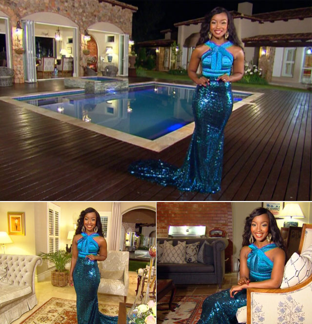 Lorna host presenter on Top billing wearing Futuristic Figure hugging Metallic black and teal gown