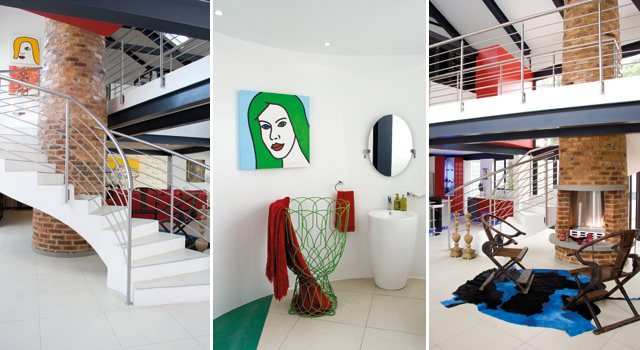 The Olly's amazing home features many art pieces in its sleek environment