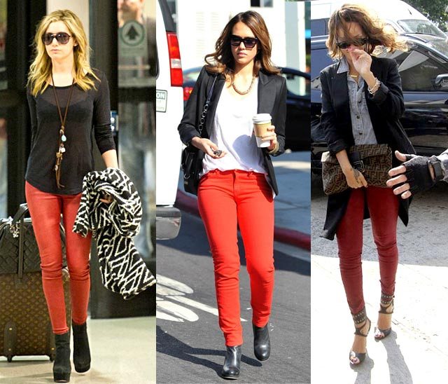 Fashion tip red skinny jeans
