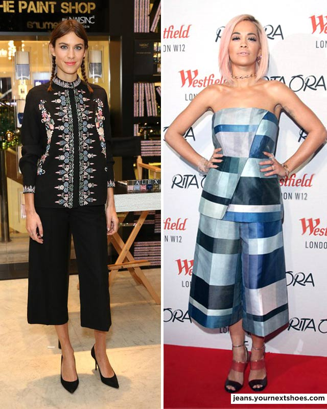 Alexa Chung and Rita Ora wearing culottes