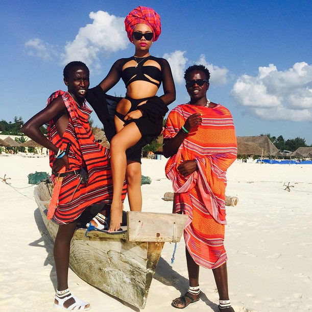 Bonang rocks a head scarf in Zanzibar