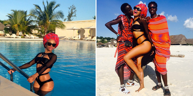 Bonang Matheba rocks a head scarf in Zanzibar