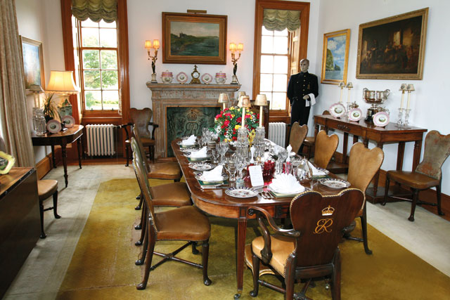 The dining room in the home of Queen Elizabeth