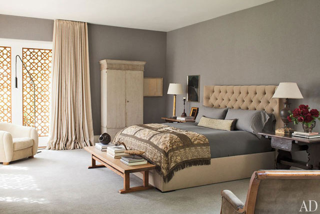 The masterbedroom in the home of Ellen DeGeneres and Portia de Rossi
