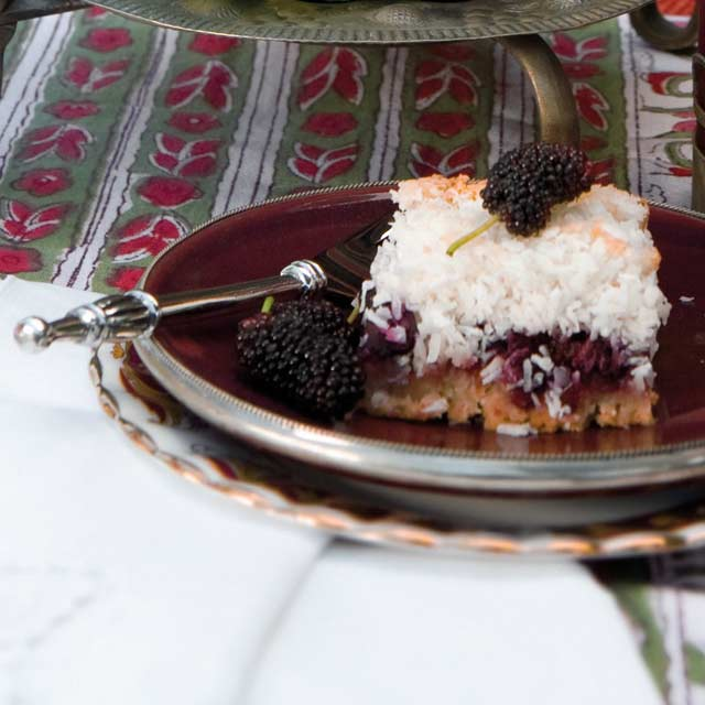 Coconut Macaroon Mulberry Slice