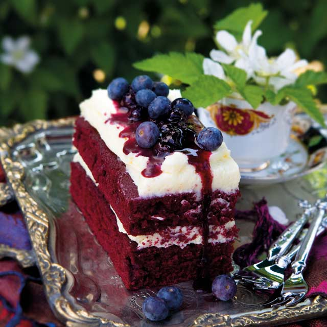 Red velvet loaf cake with blueberry compote