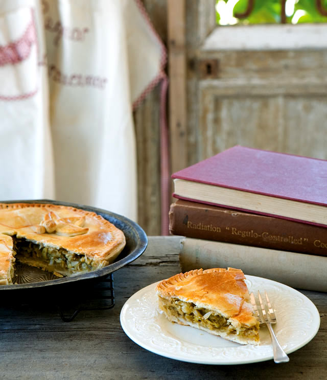 Spring onion and leek pie recipe