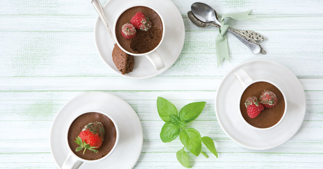 Dark chocolate and basil mousse recipe