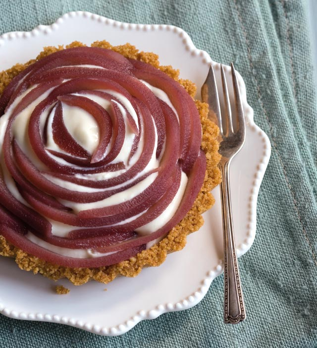Custard and red wine pear tarts