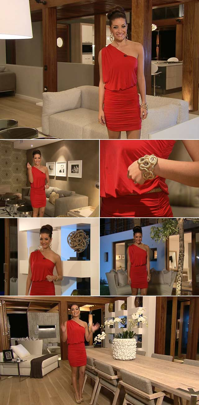 Jeannie D wearing a stunning Soto dress