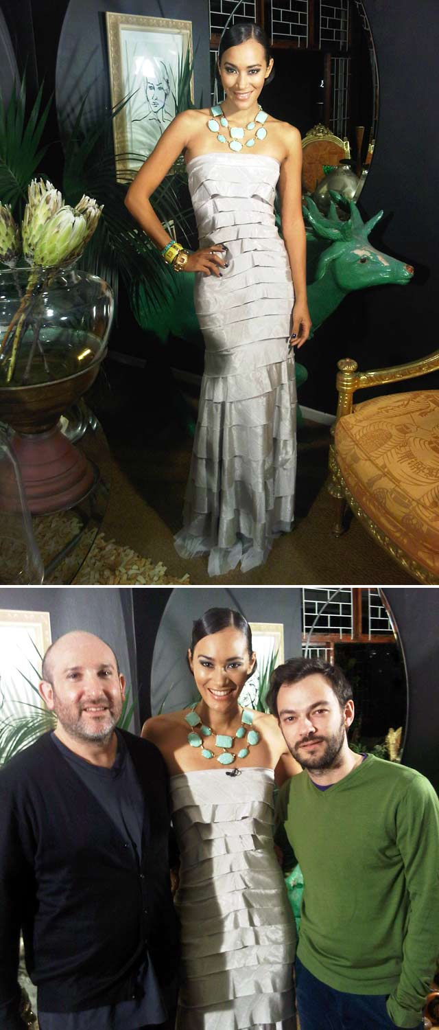Jo-Ann Strauss wearing a Kluk CGDT dress