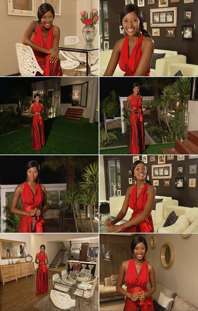 Sinazo wearing a red dress from Slate