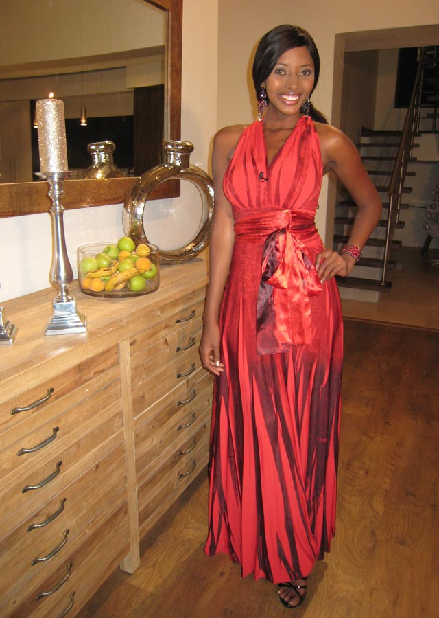 Sinazo in red dress from Slate
