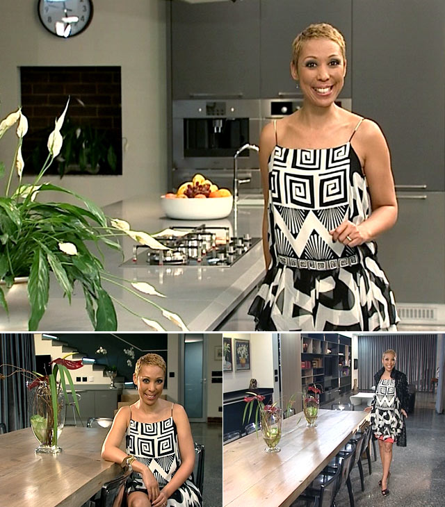 Top Billing presenter Ursula wears a Diane Von Furstenburg dress