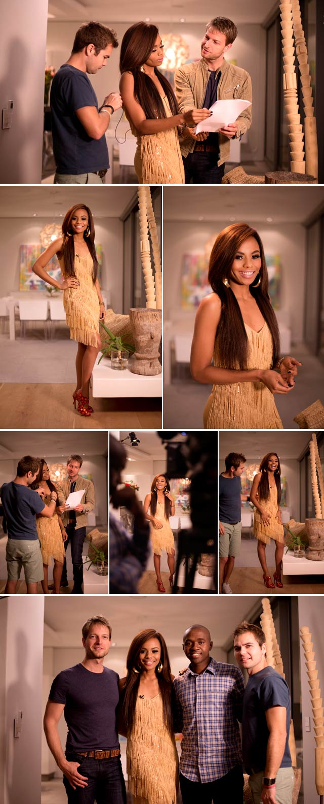 Bonang Matheba in gold flapper dress on Top Billing