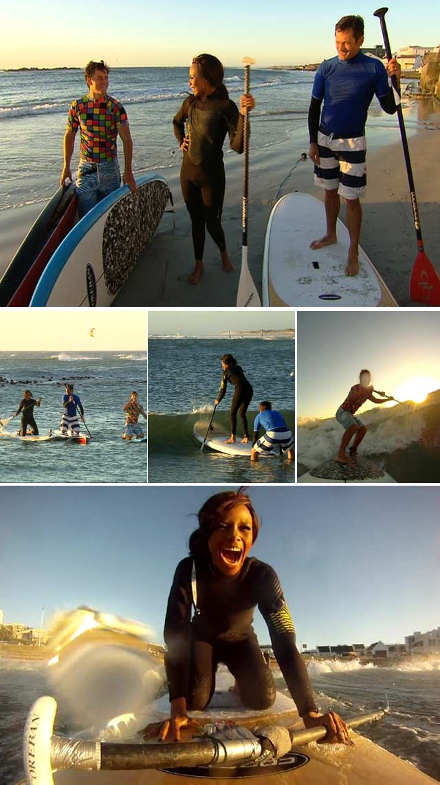 Bonang Matheba trys stand up paddle boarding on Top Billing
