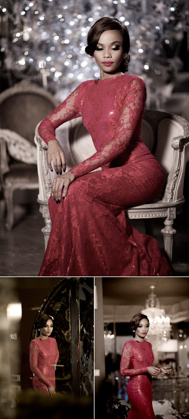 Bonang Matheba wearing red dress by gert johan coetzee