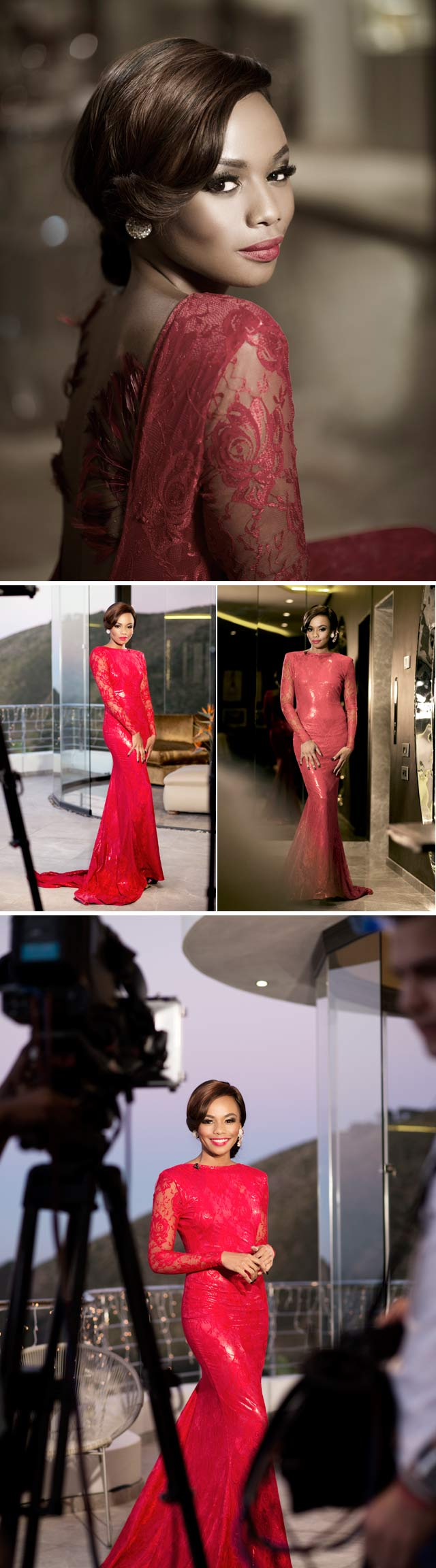 Bonang Matheba wearing red dress by gert johan coetzee on Top Billing