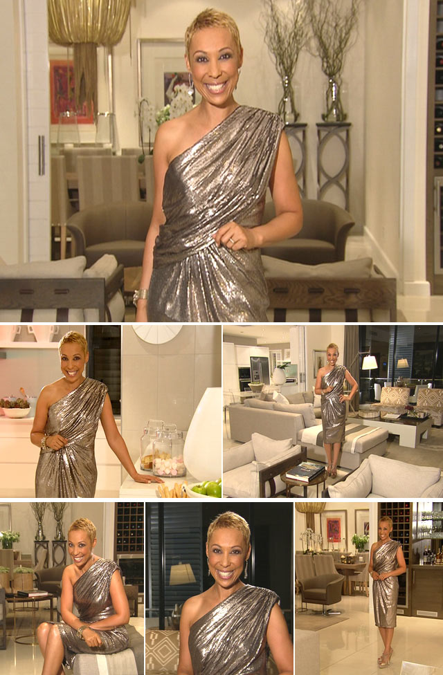 Top Billing presenter Ursula Chikane wearing dress by Tik Lee