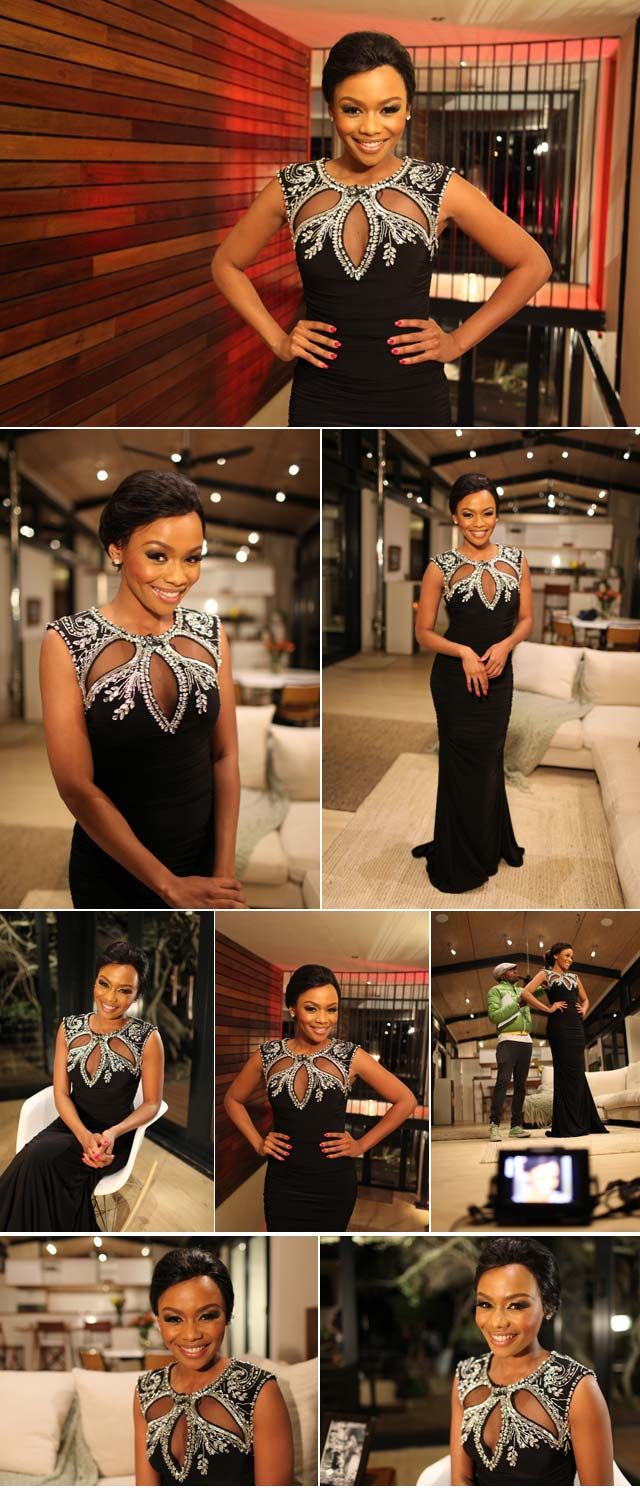 Bonang wearing black dress on Top Billing