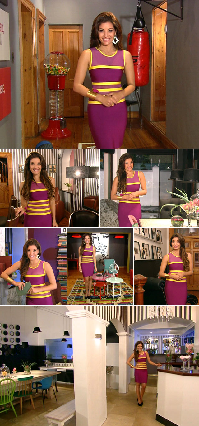 Jeannie D wearing purple dress by Blue Bay