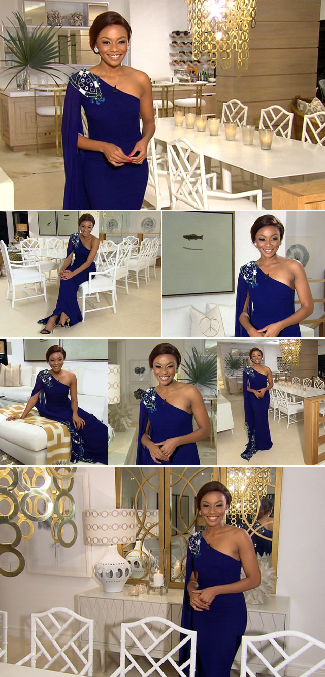 Bonand Matheba wearing blue dress on Top Billing