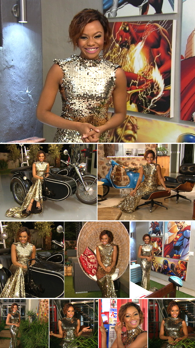 Top Billing presenter Bonang Matheba sparkles in a gold Gert-Johan Coetzee dress