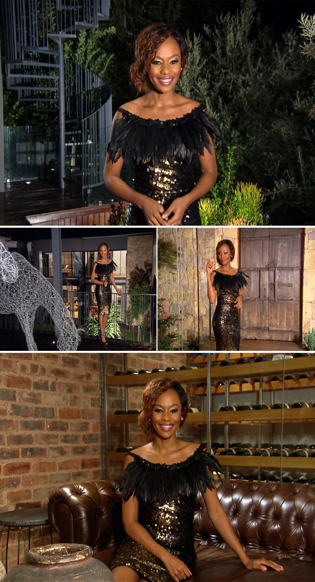 Bonang wearing feathered dress bu Gert Johan Coetzee
