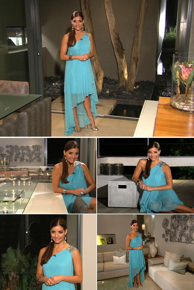 Top Billing presenter Jeannie D wearing an asymmetrical blue dress