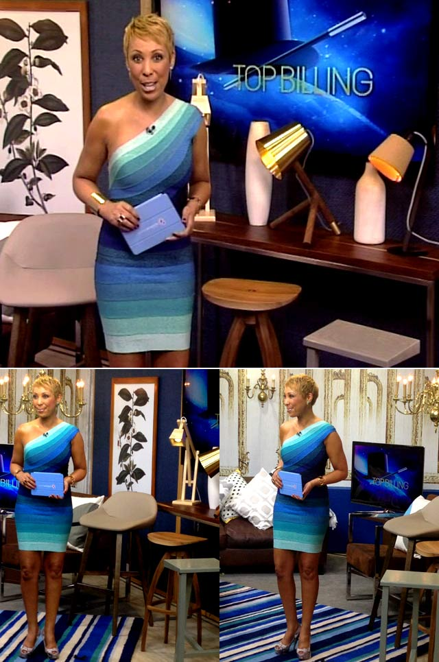 Ursula wearing blue bandage dress