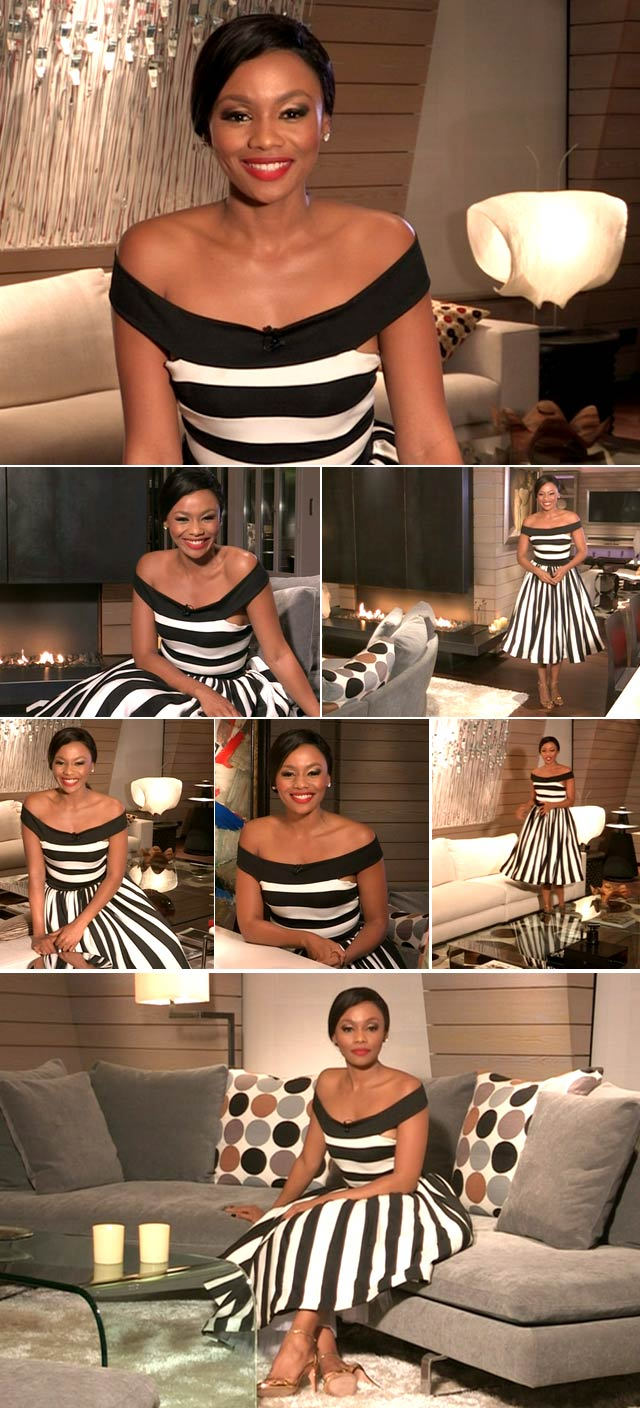 Bonang Matheba wearing striped dress by Gert-Johan Coetzee