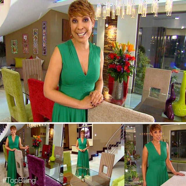 Ursula Chikane wearing emerald dress on Top Billing