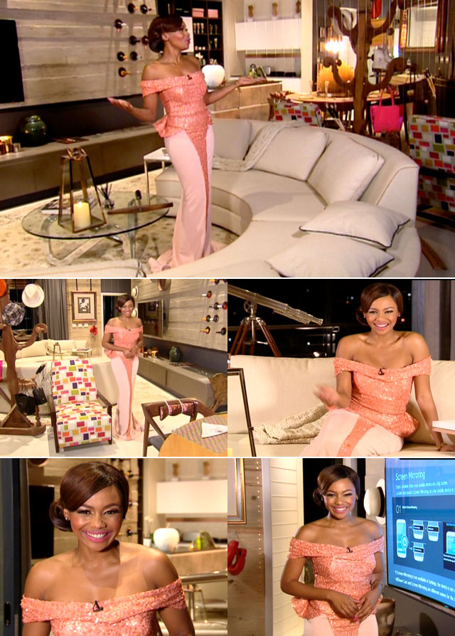 Bonang wearing pink Gert Johan Coetzee dress