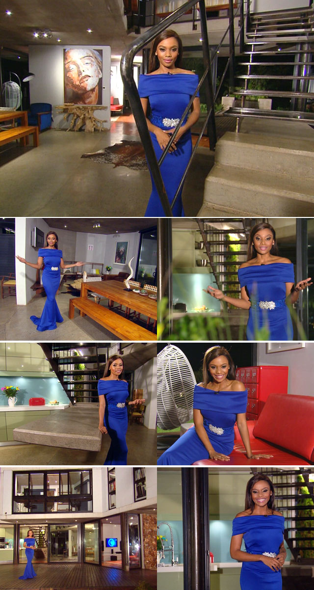 Bonang wearing blue Gert-Johan Coetzee dress on Top Billing