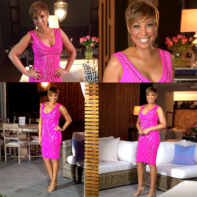 Top Billing presenter Ursula wearing Lipsy dress
