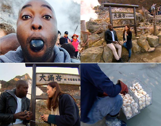 Simba eats black eggs in Japan
