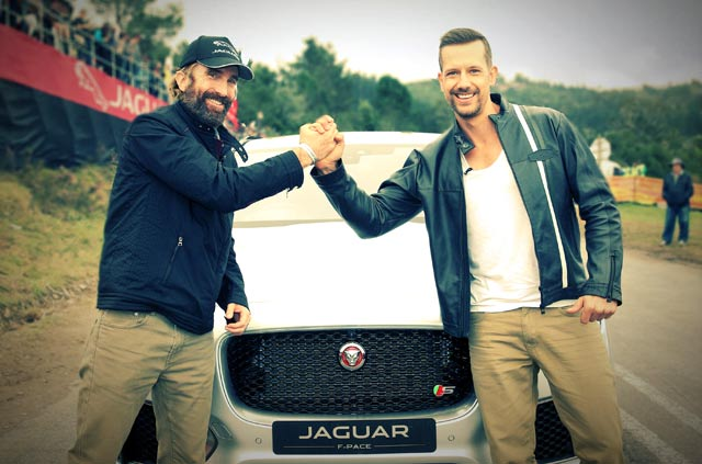 Sharlto Copley drives the new Jaguar FPACE SUV on Top Billing 2