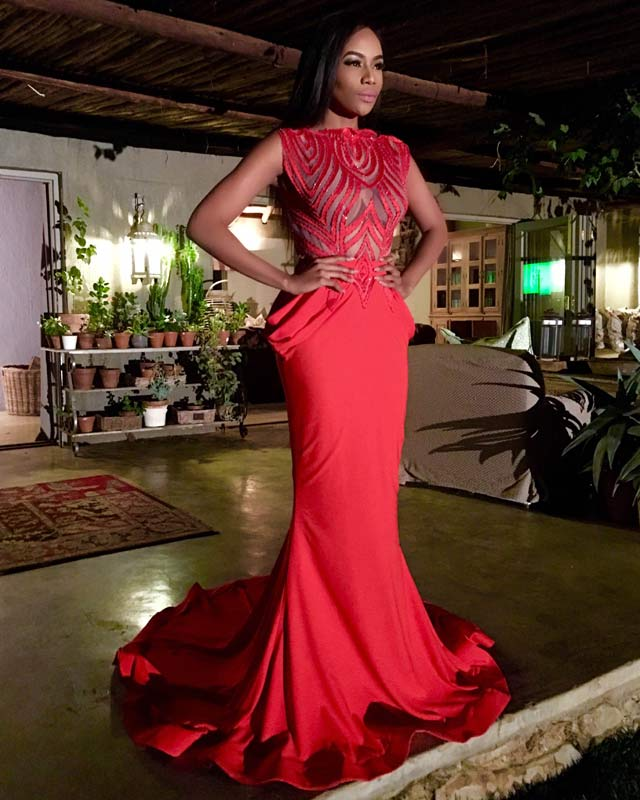 Top Billing Bonang Matheba red dress